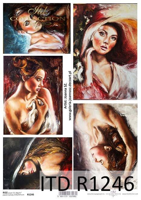 Papier decoupage malarstwo współczesne, portrety kobiet*Paper decoupage contemporary painting, portraits of women