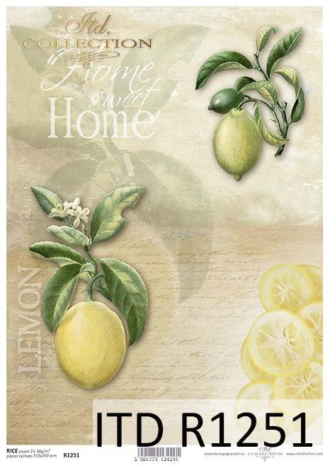 papier decoupage owoce, cytryny*Paper decoupage fruits, lemons