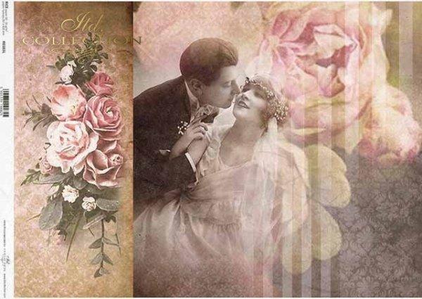 Papel retro decoupage, pareja joven, recién casados, amantes, un ramo de rosas*Retro Decoupagepapier, junges Paar, Brautpaar, Liebhaber, ein Strauß Rosen*Ретро декупаж из бумаги, молодая пара, молодожены, влюбленные, букет роз
