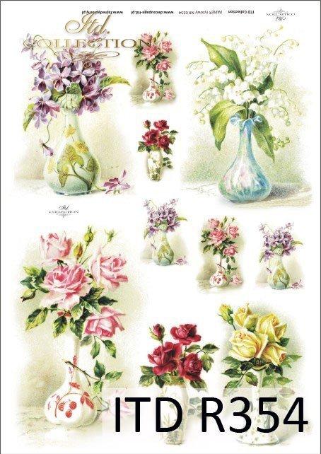 kwiat, kwiaty, wazon, wazony bukiet, bukiety, bukiecik, bukieciki, fiołek,  fiołki, konwalia, konwalie, retro, vintage, R354