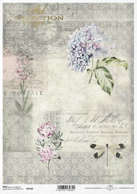 Vintage-Papier decoupage, Blumen, Libellen*Klasické papírové Decoupage, květiny, vážky*Vintage decoupage paper, flowers, dragonflies
