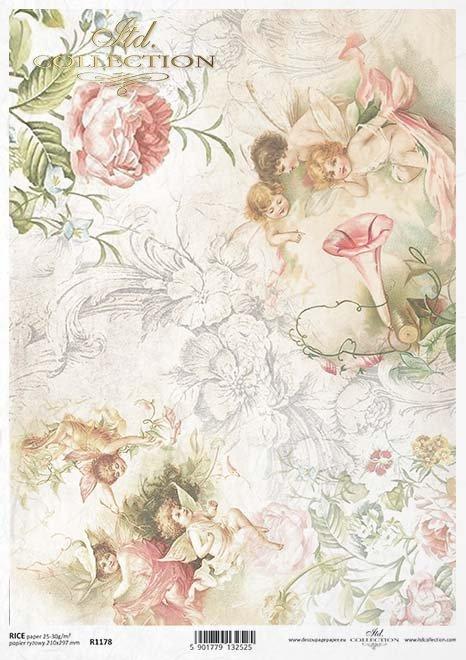 Papel Decoupage elfos, jardín encantado*Papier Decoupagepapier Elfen, Zaubergarten