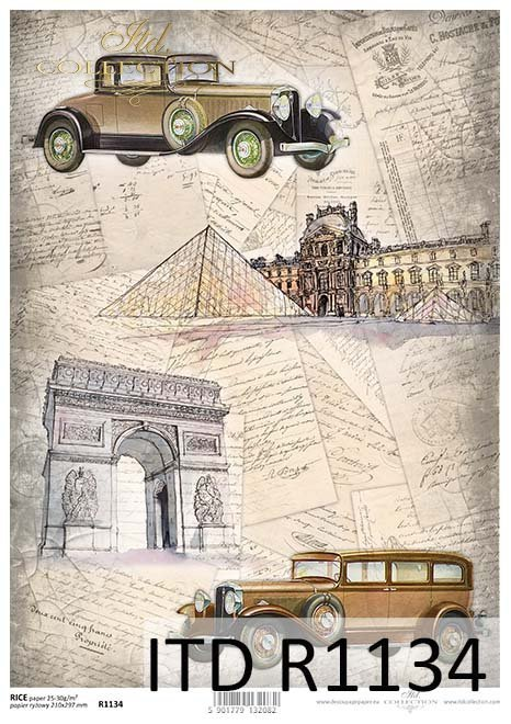 papier decoupage podróże w czasie, architektura, stare auta*Paper decoupage travel time, architecture, old car
