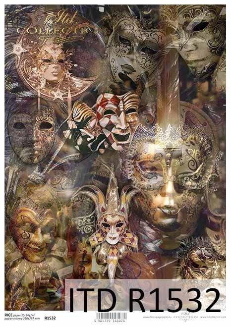Papier decoupage Maski Weneckie*Decoupage paper Venetian Masks