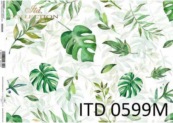 papier decoupage z liśćmi, zielone liście*decoupage paper with leaves, green leaves