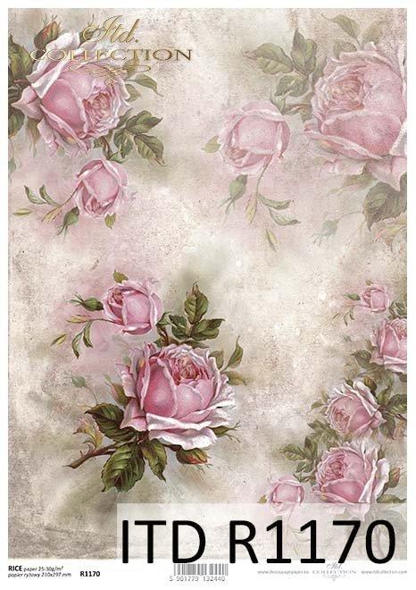 papier decoupage Róże, kwiaty*Paper decoupage roses, flowers