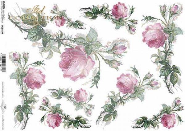 Papier Decoupage Blumen, Rosen*flores de papel decoupage, rosas*бумага декупаж цветы, розы