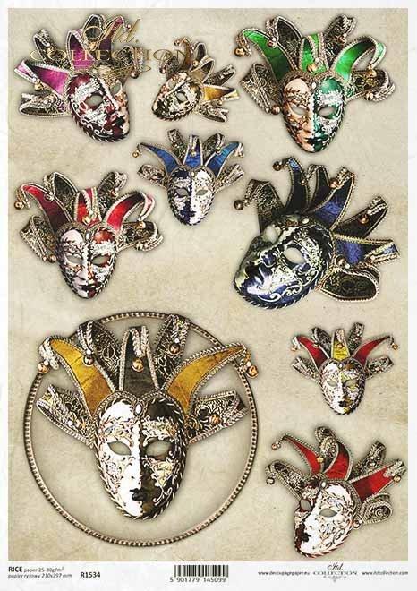 Decoupage Papier venezianische Masken, Karneval, Masken, Pierrot*Decoupage papel máscaras venecianas, carnaval, máscaras, pierrot*Декупаж из бумаги Венецианские маски, карнавал, маски, Пьеро