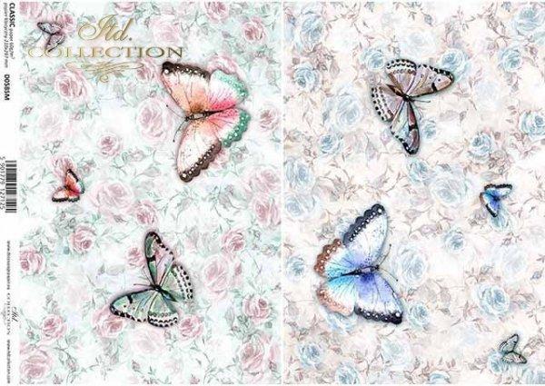 Schmetterlinge, Blumen, Rosen*papel decoupage mariposas, flores, rosas*декупаж бумажные бабочки, цветы, розы