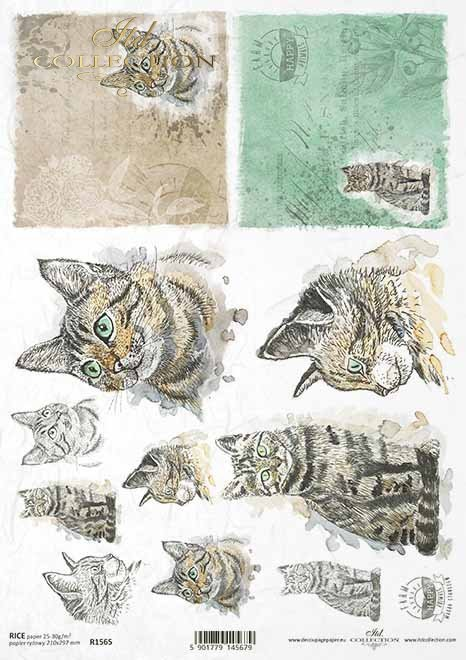 Pascua decoupage papel, granja feliz, gatos*Ostern Decoupagepapier, glücklicher Bauernhof, Katzen*Пасхальная бумага в технике декупаж, счастливая ферма, кошки