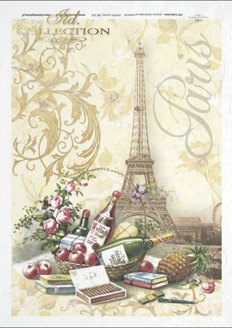 Still life, Paris, Eiffel Tower, wine, bottle, apples, picnic, plant ornament