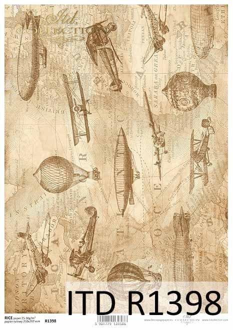 papier decoupage mapa w sepii, samoloty, balony*map decoupage paper in sepia, planes, balloons