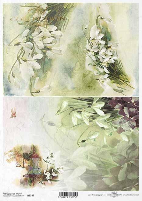 flores decoupage de papel de arroz, campanillas de invierno, casa de campo*Reispapier Decoupage Blumen, Schneeglöckchen, Landhaus*рисовая бумага декупаж цветы, подснежники, загородный дом