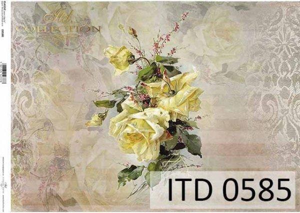 papier decoupage kwiaty, żółta róża*paper decoupage flowers, yellow rose