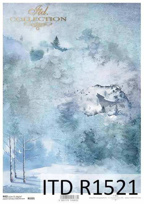 Papier decoupage zimowy, leśny kolaż, las nocą, wilk*Winter decoupage paper, forest collage, night forest, wolf