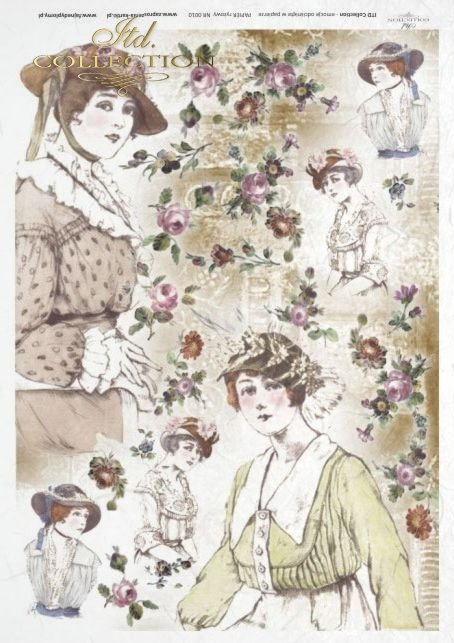 retro, vintage style, decoupage rice paper - woman, women, women's hats, hat, fashion