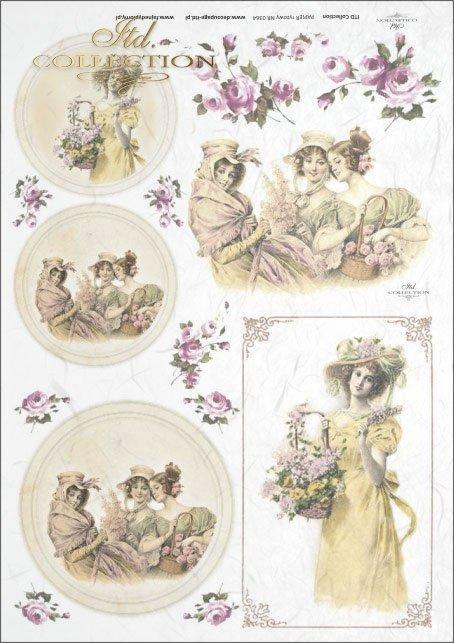 vintage, retro, woman, dress, flowers, rose, roses, flower decorations, ornaments, medallion, frame, romance, R364