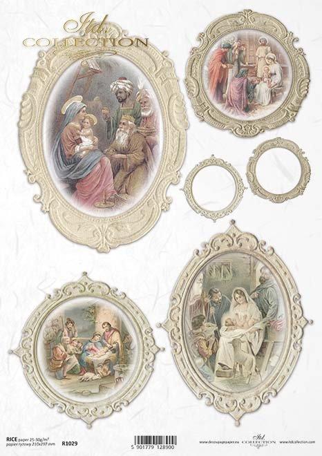 decoupage de papel Sagrada Familia*Papír decoupage Svatá rodina*Papier decoupage Heilige Familie