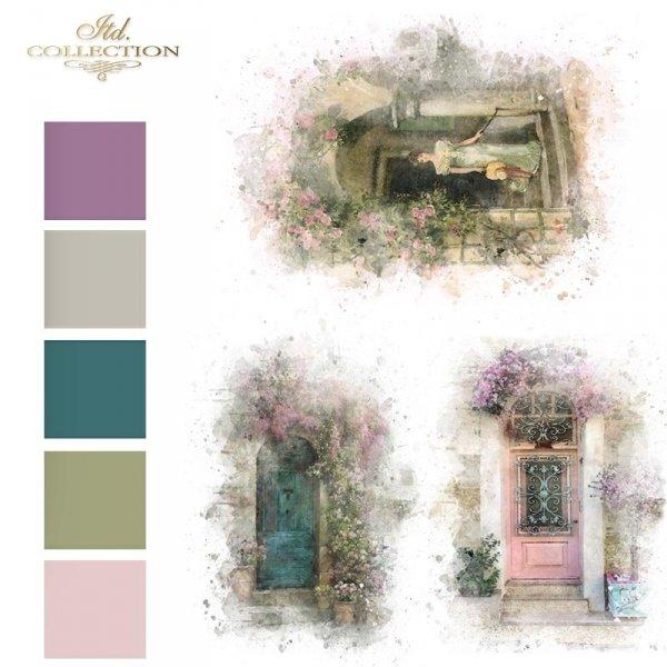 Papier-decoupage-retro-kobieta-romantyczna-drzwi-z-kwiatami*Paper Decoupage-retro-romantic-woman-door-with-flowers-kolory