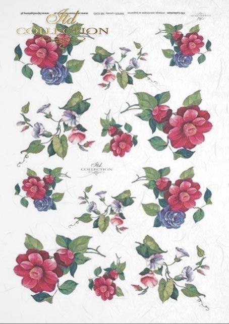 róża-powojnik-Papier-ryżowy-do-decoupage-z-kwiatami-róży-i-powojnika-R0145