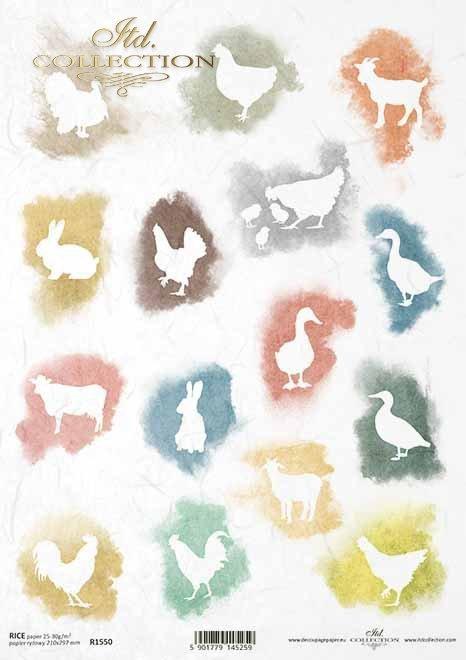 Decoupage papel Pascua, gallinas, patos, gallinas, gansos, cabras, vacas*Decoupage Papier Ostern, Hühner, Enten, Hühner, Gänse, Ziegen, Kühe*Декупаж из бумаги Пасха, куры, утки, куры, гуси, козы, коровы