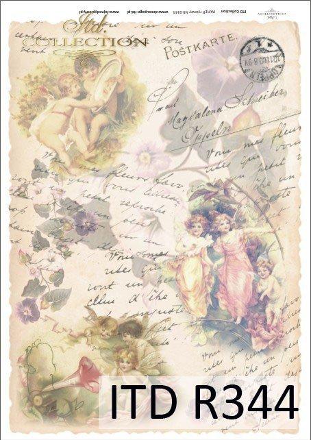 elfy, vintage, kwiaty, stare pocztówki, bajki, baśnie, R344
