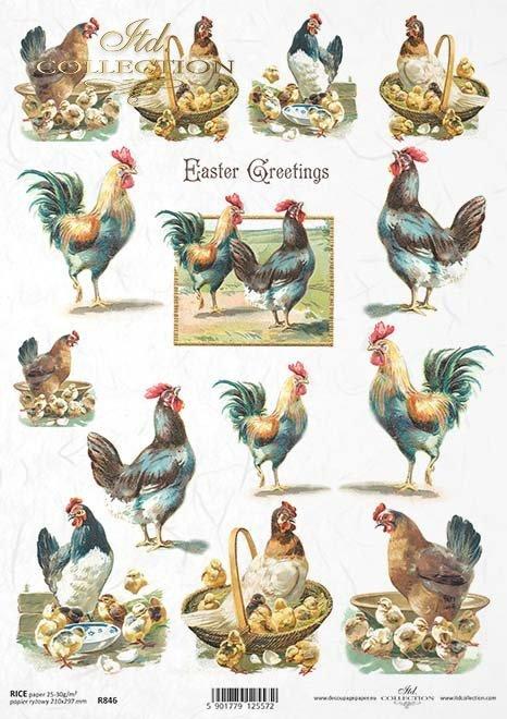 Papier decoupage ryżowy ITD R846 - Wielkanoc, koguty, kury, kurczaki, Vintage