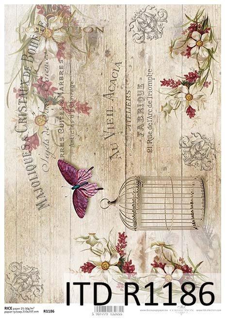 papier decoupage Vintage, deski, motyle*Vintage decoupage paper, boards, butterflies