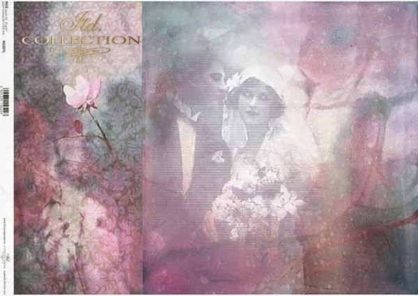 Papel retro decoupage, pareja joven, recién casados, amantes*Retro Decoupagepapier, junges Paar, Brautpaar, Liebhaber*Ретро декупаж из бумаги, молодая пара, молодожены, влюбленные