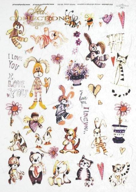 I love You, dziecięcy, dzieci, miś, misio, misie, pszczółka, pszczółki, zając, zajączek, zajączki, kotek, kotki, serce, serca, serduszko, serduszka, ptaszek, ptaszki, Dorota Marciniak, R088