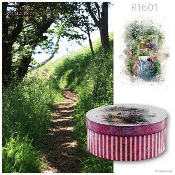 example 01 - papier ryżowy decoupage akwarele, ogrodowe furtki, lato, kwiaty w słońcu, kamienne schody,uliczki
