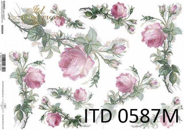 papier decoupage kwiaty, róże*paper decoupage flowers, roses