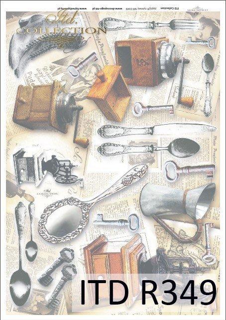 sztućce, łyżka, łyżki, trzewiki, młynek do kawy, klucz, klucze, konewka, retro, vintage, gazeta, gazety, R349