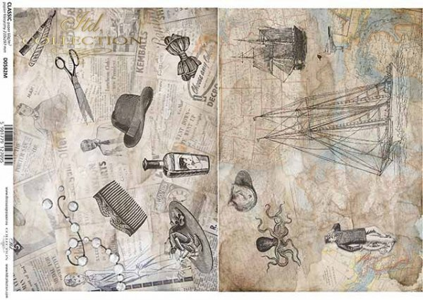 papel vintage de decoupage, accesorios de peluquería, mapa, motivos náuticos*Vintage Decoupage Papier, Friseur Zubehör, Karte, nautische Motive*винтажная бумага для декупажа, парикмахерские принадлежности, карта, морские мотивы