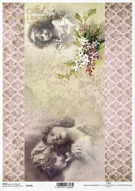 Papel de arroz vintage, caras de niñas, comunión*Vintage Reispapier, Gesichter von Mädchen, Kommunion*Винтажная рисовая бумага, лица девушек, общение