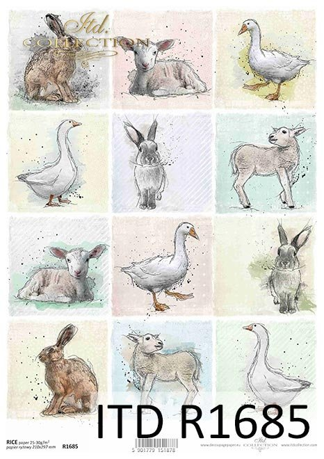 Pastel colours, tags, 12 small pictures, goose, duck, rabbit, hare, sheep, spring, Easter, around the farm
