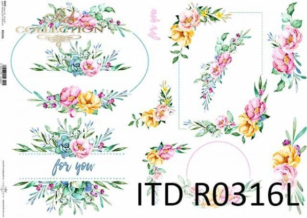 papier decoupage akwarele, kwiaty, motywy ślubne, na skrzyneczki*decoupage paper watercolors, flowers, wedding motifs, on boxes