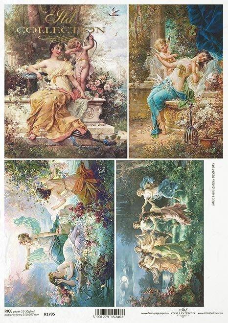 Malarstwo - Hans Zatzka (1859-1945)*Kobieta, kobiety, dama, wiosna, przyjaciółki, znajome, wolne chwile, Vintage, retro
