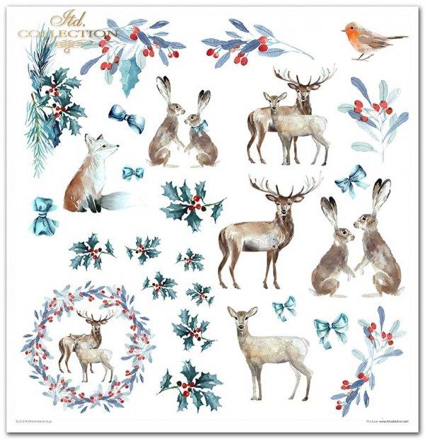 Christmas in blue - Niebieskie święta, zima, leśne zwierzęta, lis, wilk, sarny, jeleń, gil, zając, śnieżynki, jarzębina