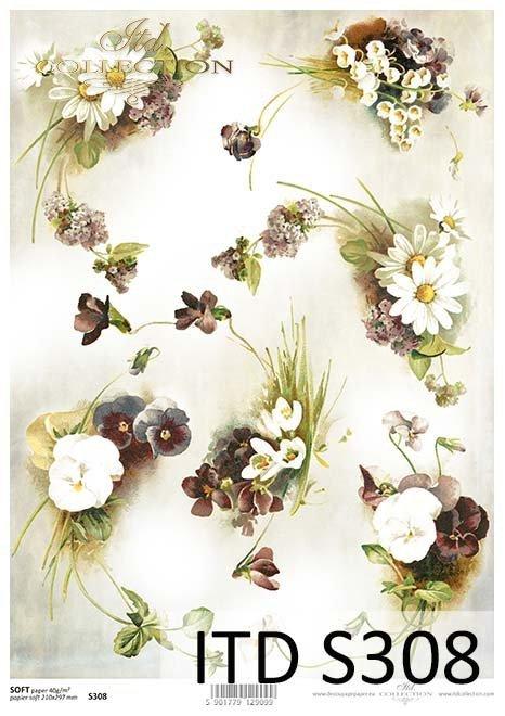 papier decoupage Bratki Fiołki Konwalie*paper decoupage Pansies Violets Lilies of the valley