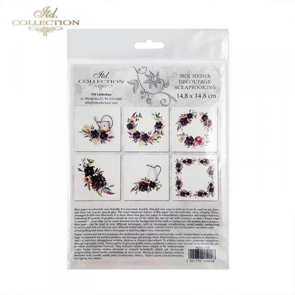 Zestaw papierów ryżowych ITD - RSM019 * Kwiatki, Peonie, Piwonie, Szałwia, Lawenda, Hortensja, dzbanek, konewka, rdza
