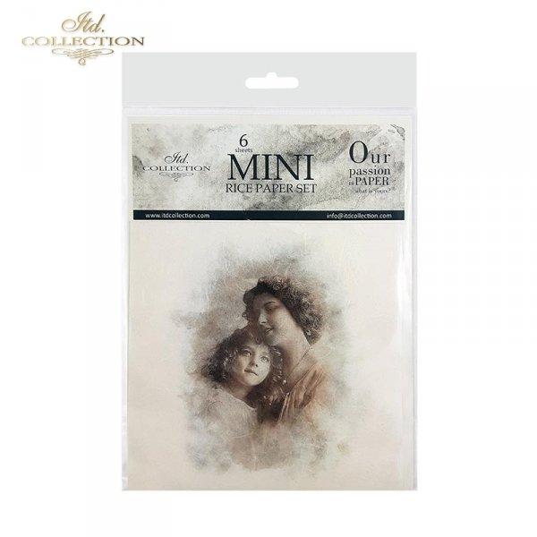 Zestaw papierów ryżowych ITD - RSM023 * Retro zdjęcia, retro portrety matek z córkami, dziećmi, urok starej fotografii