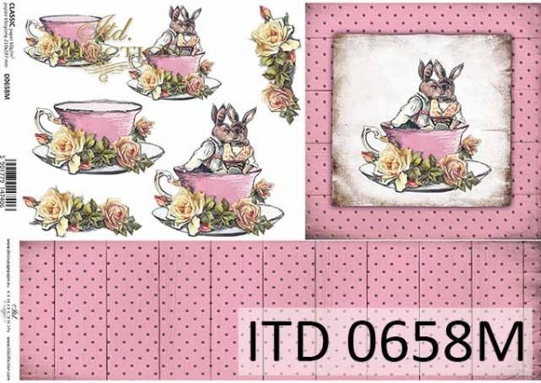 Wielkanoc, Vintage, zające w filiżance, deski, kwiaty, róże*Easter, Vintage, bunnies in a cup, boards, flowers, roses