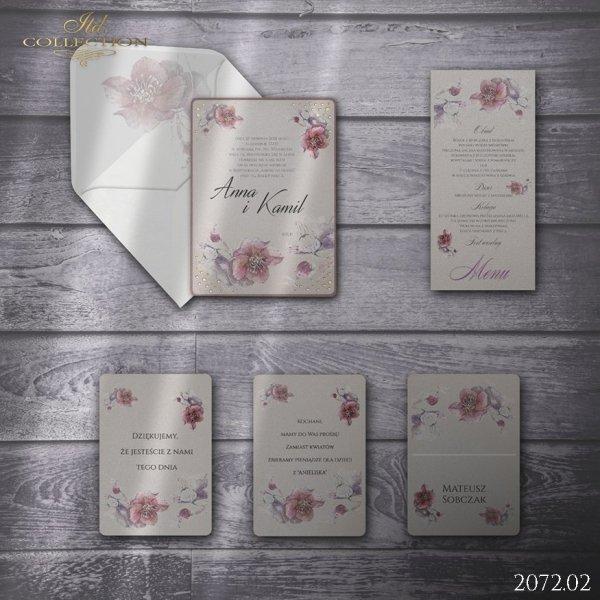 Zaproszenie 2072 * Zaproszenia ślubne * menu * winietka * koperta z wklejką - wersja 2