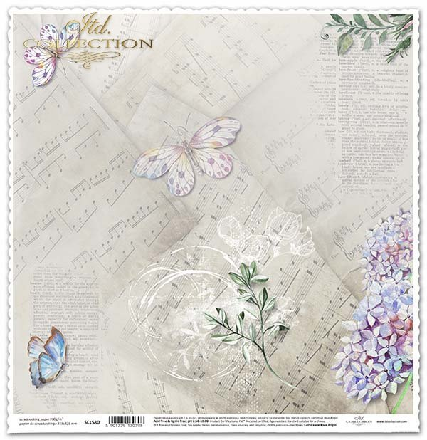 Papier für das Scrapbooking - Schmetterlinge, lila Blume*Papel para álbumes de recortes - mariposas, flor de la lila*Papír na scrapbooking - motýli, šeřík květina