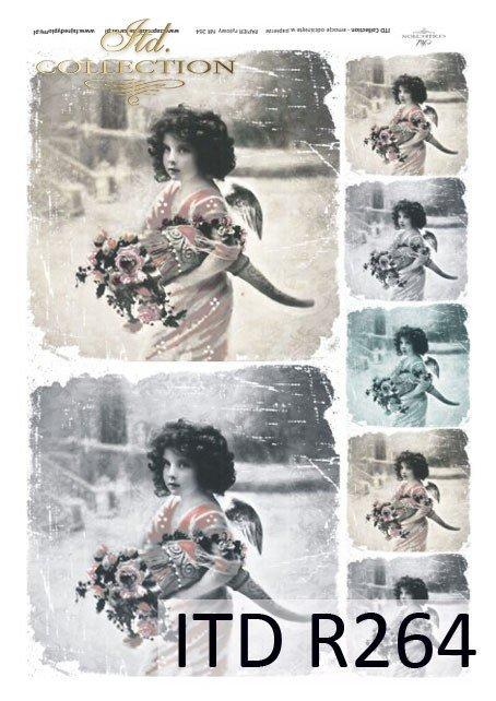 aniołek, aniołki, anioł, anioły, dzieci, dziewczynki, portrety dzieci, styl retro, R264