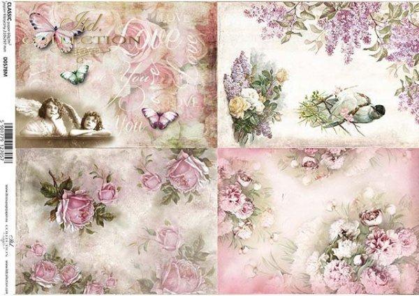 papel decoupage flores, pájaros, ángeles, mariposas*Decoupage Papier Blumen, Vögel, Engel, Schmetterlinge