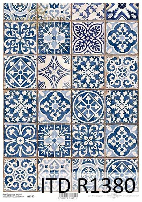 Papier ryżowy Vintage, niebieskie kafelki*Vintage rice paper, blue tiles