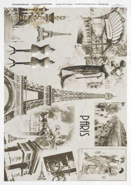 Paper, decoupage, cities, Paris, rice paper, R057