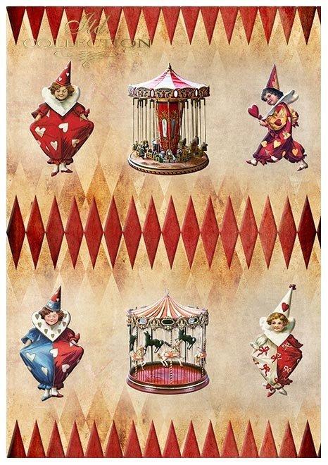 Papiery do scrapbookingu w zestawach - Karnawał, zakochany Pierrot * Set of scrapbooking papers - Karnival Pierrot in love